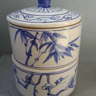 台灣早期 東南窯製 手繪青花瓷重盒