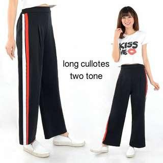 Long cullote two tone scuba, all size fit L, belakang pinggang karet