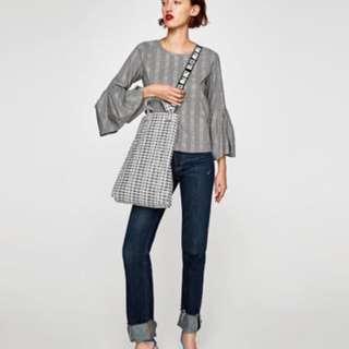 Zara 格紋打褶喇叭袖設計上衣 葛倫格子時尚上衣