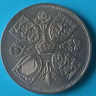 U.K. EQII coronation nickel coin 5 shilling Year 1953 UNC low Mintage big coin sale 30%