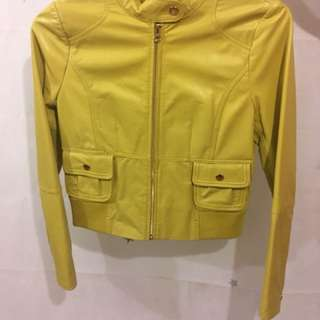 Max & Co Mustard Yellow Leather Jacket