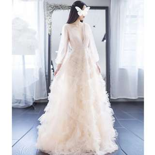 Gown Collection - Deep V Long Sleeves Cream Lace Gown