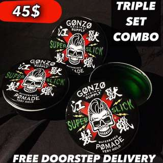 Triple Set Save More😊[Gonzo Super Slick Pomade Stronghold]
