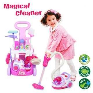 FREE POS Ready Stock Little Helper Toys Real Vacuum Cleaner Cart LED Playset