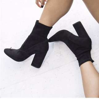Black Suede, High-Heeled Boots by Lipstik