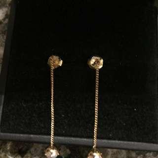 全新正貨 珍珠耳環 14k 金 yellow gold pearl earring