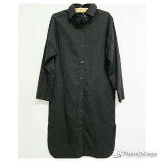 黑棉麻長版襯衫/連身裙(白.黑.藍)