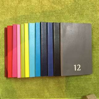 Moleskin 12 colour Pocket Diary Collectiin (1 per Month) Brand New!! Free 2015 (missing September)