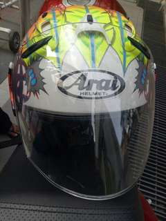 Helmet with Arai Stickers