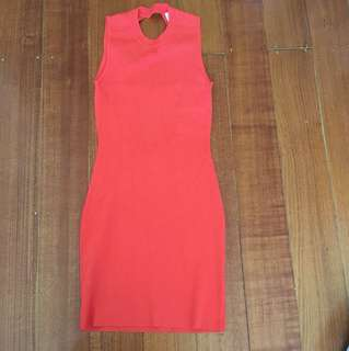 Seed Heritage Women's Size Small Orange Cut Out Back Dress