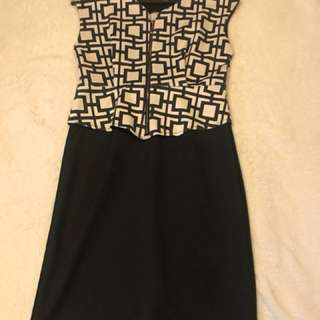 Zara Graphic Peplum Dress