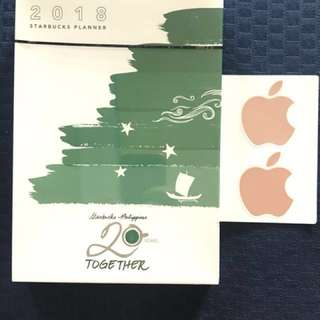 Starbucks 2018 Planner (Big) with rare Rose Gold Apple Stickers