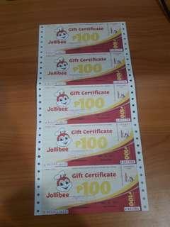 Jollibee Gift Certificate worth 500