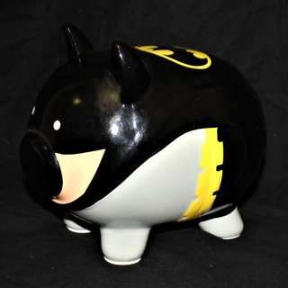 Batpig piggy bank. Ceramic.