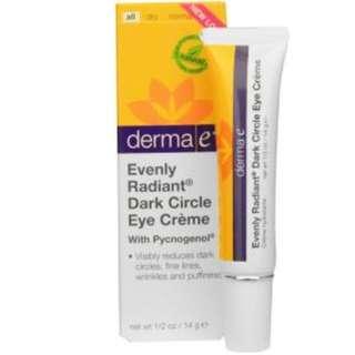 Derma E, Evenly Radiant Dark Circle Eye Cream with Pycnogenol, 1/2 oz (14 g)