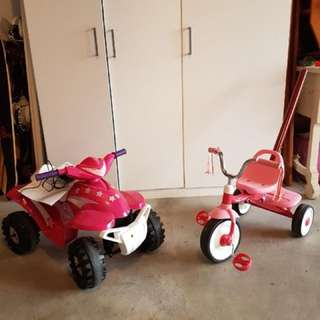Motorized car with power adapter and tricycle $100 for both