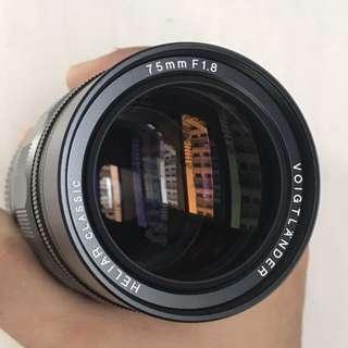 Voigtlander Heliar 75mm f/1.8 VM Lens (MINT)
