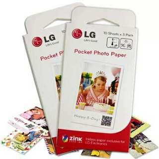 LG Pocket Photo Paper Zink Zero Ink