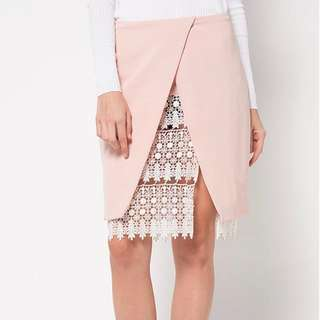 Wrap effect lace skirt
