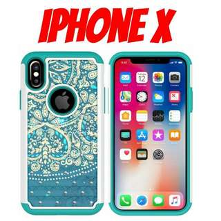 iPhone X Blue Heart Mandala Hybrid Case