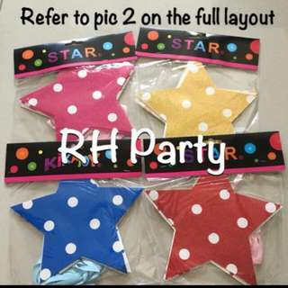 (17/1) Buy 2 @ $5.00 - Glitter celebrate Star hanging Banner / Party bunting (celebration/ birthday )
