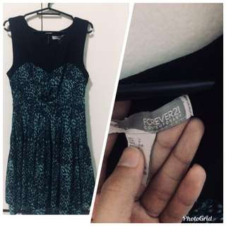 Forever21 black and green dress