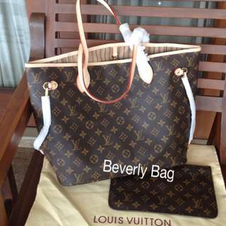 READY jual tas LV Neverfull Monogram LEATHER MIRROR - beige