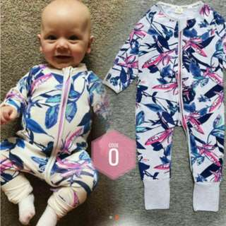 inspired bonds kidstales purple leaves 2y-3y 24m-36m size 100 long sleeves sleepsuit