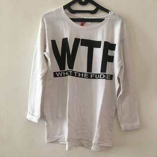 H&M sweater putih 'what the fudge'