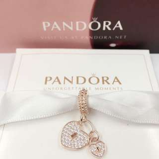 Authentic Pandora Charm Heart Lock Charm 92.5 Sterling Silver Saudi Gold 18K (Not Pawnable)