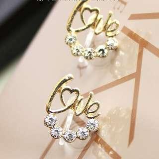 🐧韓國love樹脂耳夾Korea love resin ear clip