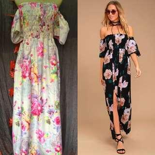 Summer cold shoulder maxi dress size m-large
