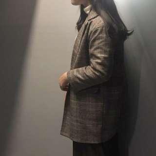 格紋外套大衣