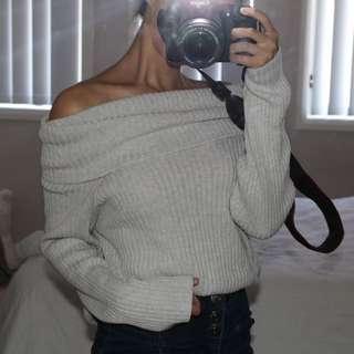 Grey Off the Shoulder Knit Jumper