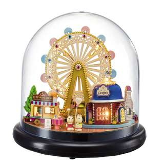 GIFTIDEA DIY Dollhouse, Acrylic cover Mini  House with LED Lights, Handmade Toys, Home and Wedding Decorations, Gift for Lover, Friend, Children (Happy Ferris wheel)