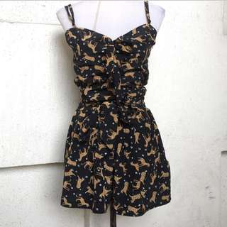Black prints tied up romper