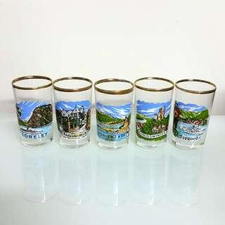 德國風境旅行記念玻璃酒杯/ 擺設一套