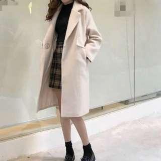 呢子大衣女原宿風chic秋冬寬鬆顯瘦百搭中長款毛呢外套上衣學生