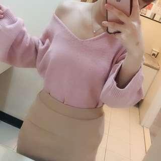 軟棉質V領針織毛衣「粉」+針織粉膚裙