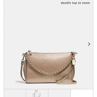 BNWT Coach Carrie Crossbody In Light Gold/ Champagne