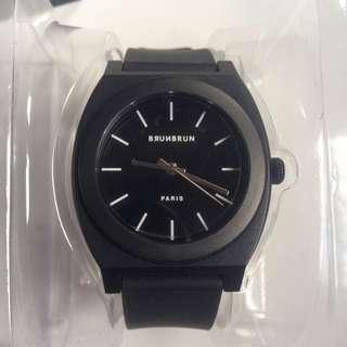 Brunbrun Black Rubber Watch
