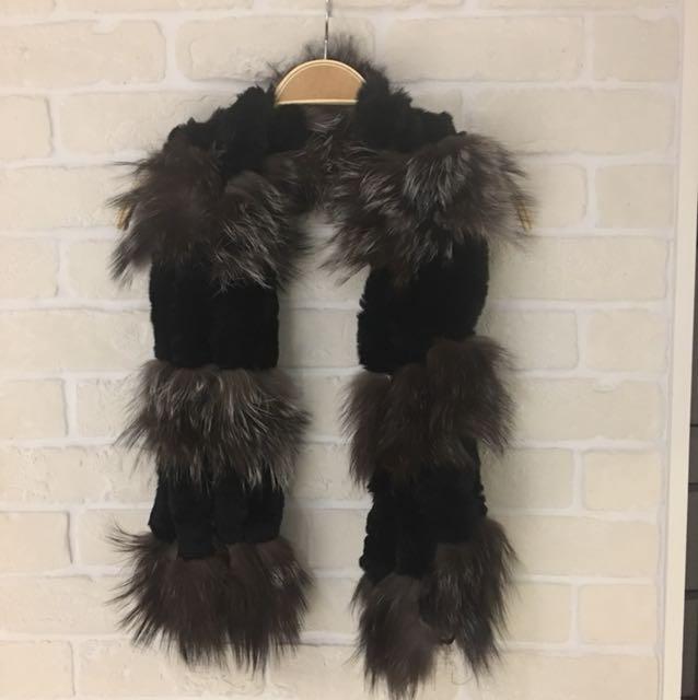 兔毛貂毛拼接造型圍巾,120*15cm,精品展示樣出清