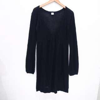 AL546 DRESS AXES FEMME KNIT STRETCH HALUS BLACK HITAM BAGUS IMPOR MURA