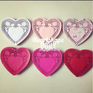 "6"" Heartshape colored paper Doily"