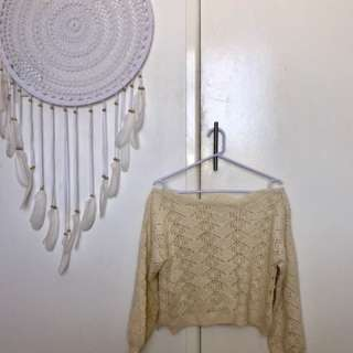 Cream Knit Off the Shoulder Sweater