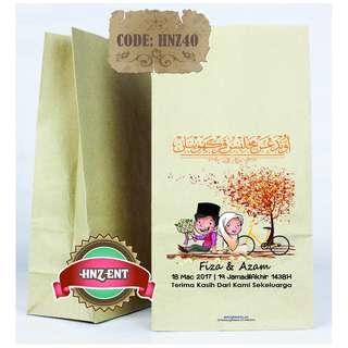 Personalized Paper bag Bercetak untuk Majlis Perkahwinan HNZ40 100pcs 1 pack