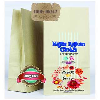 Personalized Paper bag Bercetak untuk Majlis Perkahwinan HNZ42 100pcs 1 pack