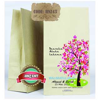 Personalized Paper bag Bercetak untuk Majlis Perkahwinan HNZ43 100pcs 1 pack