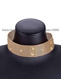 Fashion Gold Color Pure Color Decorated Choker E39900