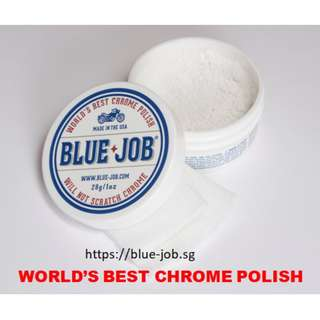 BLUE-JOB® CHROME POLISH & A Pipe Wipes™ Cloth - WORLD'S BEST CHROME POLISH – MADE IN THE USA -  Free Local Standard Postage Delivery.